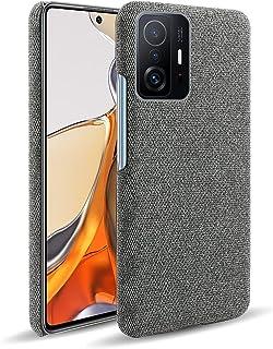 حافظة OIATROE لجهاز Xiaomi 11T Pro ، مصنوعة يدويًا بلون القماش نمط حافظة جلد لجهاز Xiaomi 11T Pro - رمادي