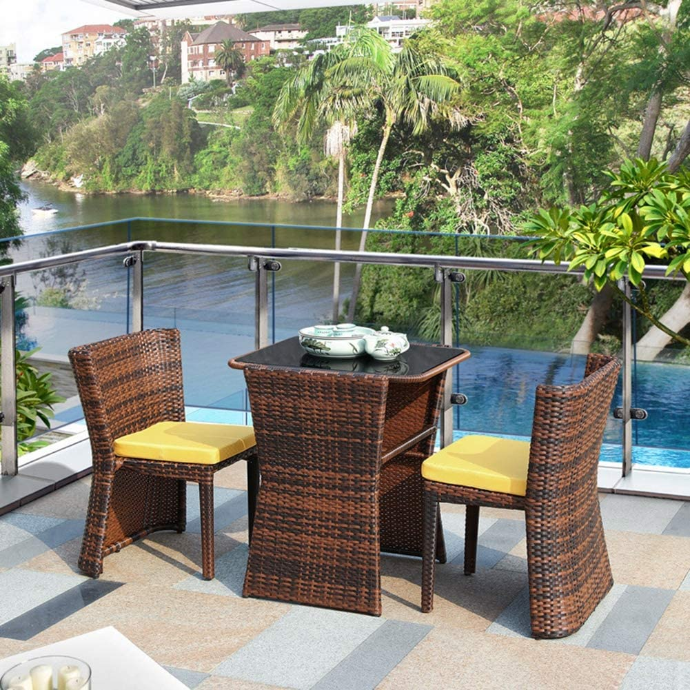 11PC Rattan Bistro Set 11 Chair Glass Top Coffee Table Wicker Weave Furniture  for Garden Outdoor Balcony Patio,B