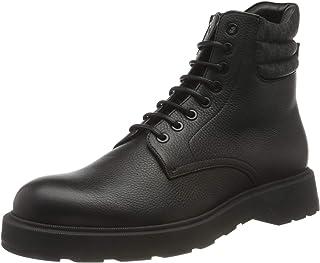 BOSS Hommes Gladwin Halb Boots en Cuir grainé Italien, avec col monogrammé