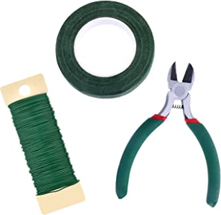eBoot Floral Arrangement Tool Kit Floral Tape Stem Wrap 1/ 2 Inch by 30 Yards, 22 Gauge Green Paddle Wire and 4 1/2 Inch Wire Cutter