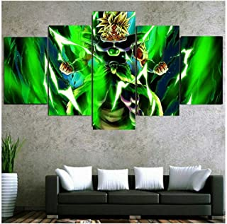 HNFSCLUB 5 Pieces Dragon Ball Super Broly Anime Saiyan Poster HD Canvas Print Painting Modern Green Wall Art for Living Room Home Decor Without Frame(100cmX200cm)