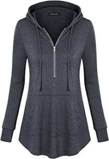 Women's Zip V Neck Long Sleeve Pullover Casual Thin Hoodies Shirt with Pocket