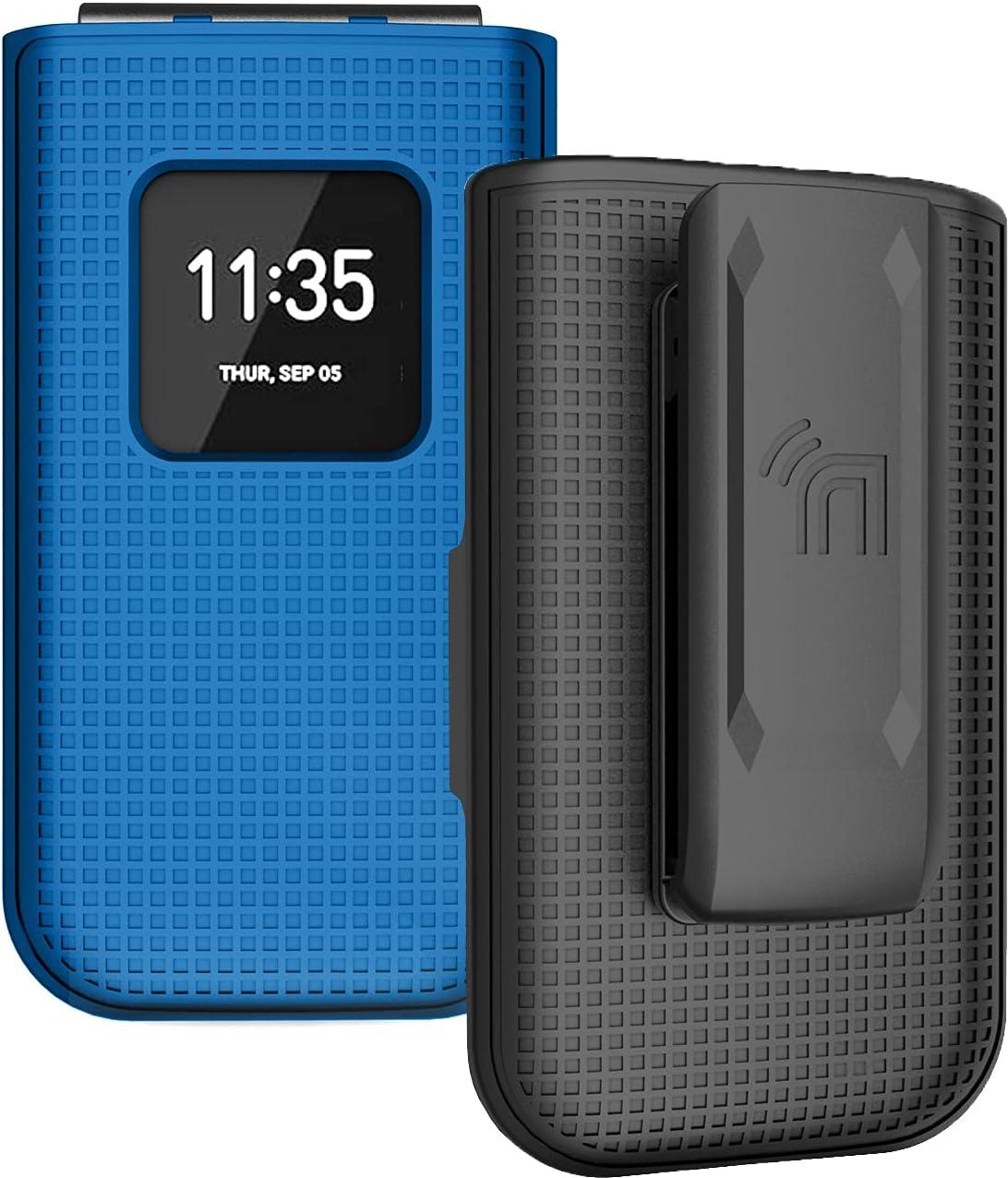Case with Clip for Nokia 2720 V Flip Phone, Nakedcellphone [Cobalt Blue] Snap-On Hard Shell Cover with [Rotating/Ratchet] Belt Hip Holster Holder for Verizon TA-1295