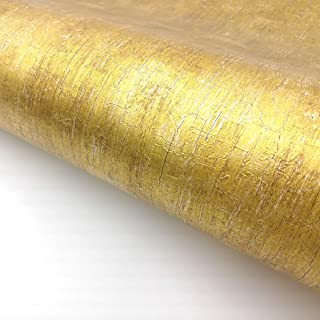 RoyalWallSkins Gold Metallic Glitter Shinny Peel and Stick Wallpaper Embossed Contact Paper Self Adhesive 2 ft x 6.56 ft (Embossed Gold IMS0116)