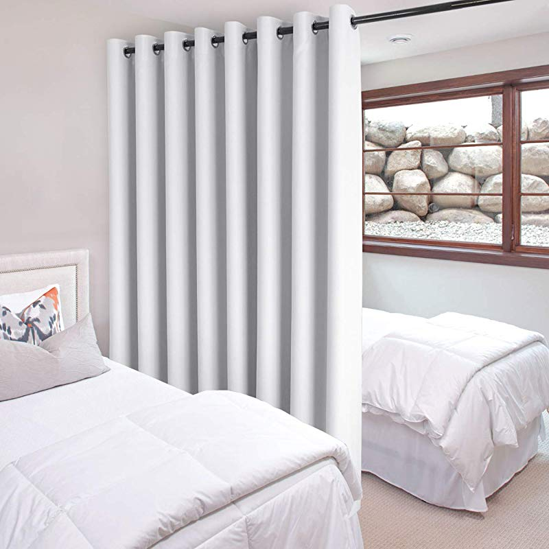 DWCN Total Privacy Room Divider Blackout Curtain Thermal Curtains For Patio Door Living Room Bedroom Partition And Shared Office Space 1 Grommet Curtain Panel 15ft Wide X 8ft Tall White