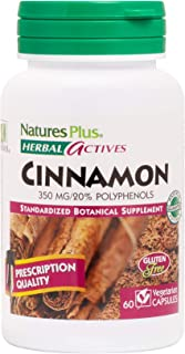 NaturesPlus Herbal Actives Cinnamon - 350 mg, 60 Vegan Capsules - Cinnamon Bark Supplement, Promotes Healthy Blood Sugar Levels, Anti-Inflammatory - Vegetarian, Gluten-Free - 60 Servings
