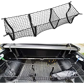 AndyGo 3 Pocket Cargo Net Trunk Organizer 45-by-16-Inch Stretchable Truck Bed Storage Net Fit for Toyota Tacoma Tundra 2012 2013 2014 2015 2016 2017 2018 2019 2020 Accessories
