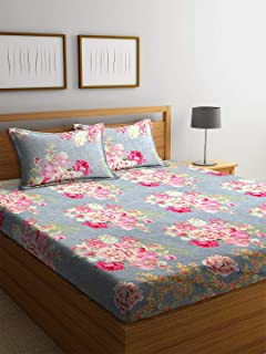 Bombay Dyeing Vista - Polyester 136 TC - Double Bedsheet with 2 Pillow Covers - Grey