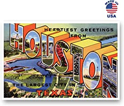 GREETINGS FROM HOUSTON, TX vintage reprint postcard set of 20 identical postcards. Large Letter Houston, Texas city name post card pack (ca. 1930's-1940's). Made in USA.