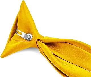 Moda Di Raza - Boy's NeckTie Solid Clip on Polyester Tie - Boys' Kids' Children's Solid Color Boys Formal Wear Pre-Tied Polyester Clip Necktie - Golden Yellow/11