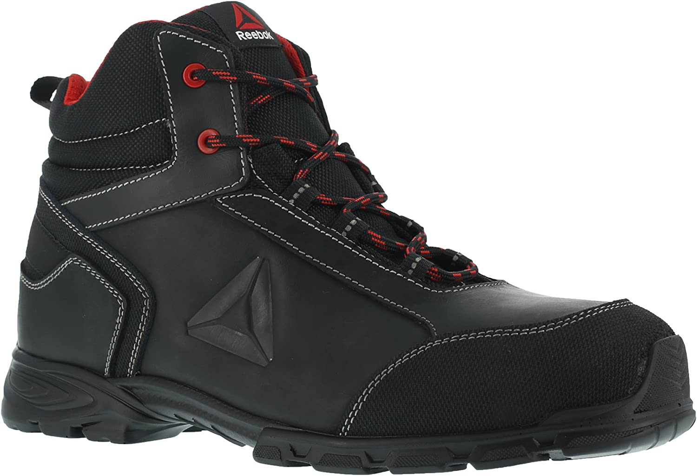 REEBOK WORK IB1025 S3 Audacious Sport Aluminium Toe Work Safety Boot, Waterproof, 44, Black Red