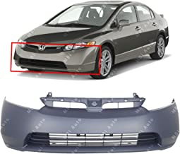 BUMPERS THAT DELIVER - Primered, Front Bumper Cover Fascia for 2006 2007 2008 Honda Civic 1.8L Sedan 06 07 08, HO1000239
