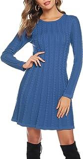 Hawiton Vestito Donna in Maglione, Vestito Vita Alta Donna Casual di Orlo Svasato, Vestito Elegante in Girocollo/Collo Alt...