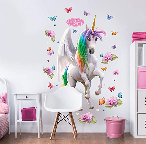 Walltastic WT45996 Magical Unicorn Large Character Sticker Wall Decal Multicolor