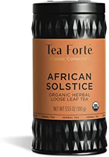 Tea Forte Organic Herbal Tea, Makes 35-50 Cups, 3.53 Ounce Loose Leaf Tea Canister, African Solstice
