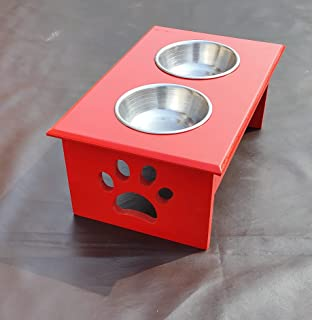 Dog Feeder Pets Empire Cat Bowl Stand - Wooden Cat Wooden, Steel Pet Bowl (200 ml Color Red )
