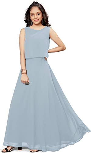 Girl s Faux Georgette Western Style Full Stitched Maxi Gown Dress GRN