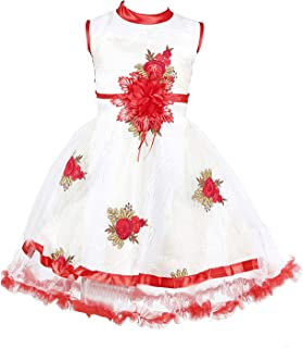 629fee5279cc YAYAVAR™ Girls Net Made White & Red Colored Casual Frock for Girls - Set of