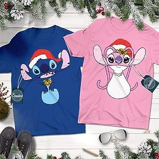 Angel Pink And Blue Monster Christmas Couple Costume Pajama Shirt Customized Handmade Short Sleeve | Premium Short Sleeve | Long Sleeve | Hoodie | Sweatshirt | Adult Tank
