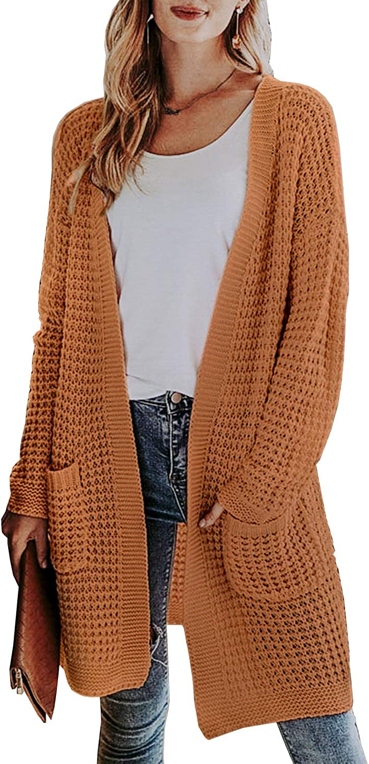 Miessial Women's Casual Open Front Knit Cardigan Sweaters Long Sleeve Outwear Soft Knit Coat with Pockets