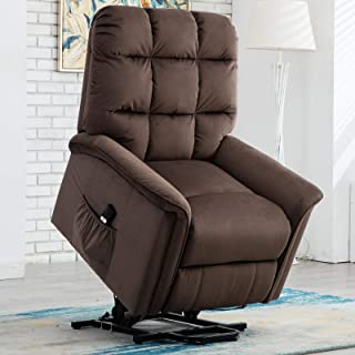 CANMOV Power Lift Recliner Chair for Elderly- Heavy Duty and Safety Motion Reclining Mechanism-Antiskid Fabric Sofa Living Room Chair with Overstuffed Design, Brown 02