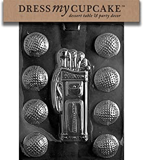 Dress My Cupcake DMCS028 Chocolate Candy Mold, Golf, Caddy, Balls