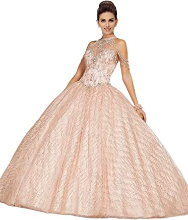 03446b991f High Halter Off The Shoulder Quinceanera Dresses 2019 Pearls Beading  Crystal Lace-up Ball Gowns