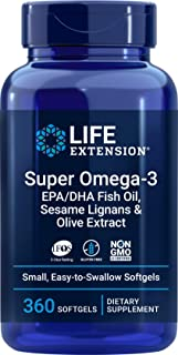Life Extension Super Omega-3 360 Softgels, Easy to Swallow, EPA/DHA Omega3 Fish Oil, Sesame Lignans & Olive Extract