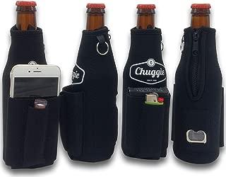 Chuggie Bottle with Two Pockets - Holds Cigarette and Lighter, Phone, Keys, 3mm Neoprene (4 Pack Black)
