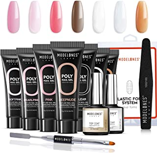Modelones Poly Nail Gel Kit - Nail Extension Gel Kit Nail Enhancement Builder Gel Kit with 7 Luxurious Colors Quick Nail Extension Solution Gel Tube in GiftBox