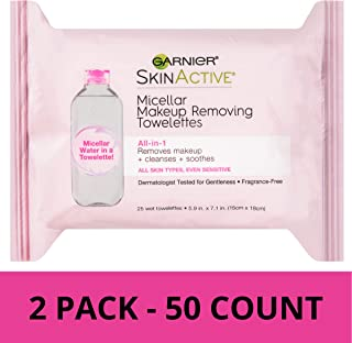 Garnier SkinActive Micellar Makeup Remover Wipes, 25 Count (Pack of 2)