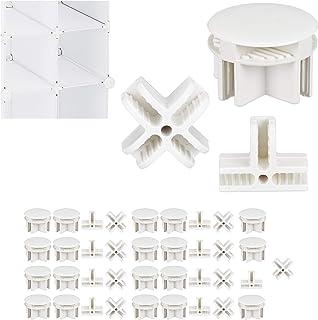 Relaxdays, Blanc Connecteurs Plastique pour Cubes étagère système modulable pièce de Rechange, Set de 40, 3 Sortes, ABS, Lot