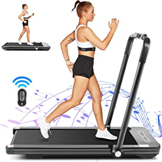 Borisdar 2 in 1 Folding Treadmill,2.25HP Under Desk Electric Treadmill with Bluetooth Speaker,Installation-Free,Running Machine Portable Treadmill for Running and Walking Exercise Home Gym