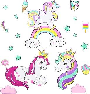 Pegatinas de pared de unicornio para niñas niños dormitorio, Qkurt Etiqueta casera de vinilo grande para niños sala dormitorio niñas habitación decoración