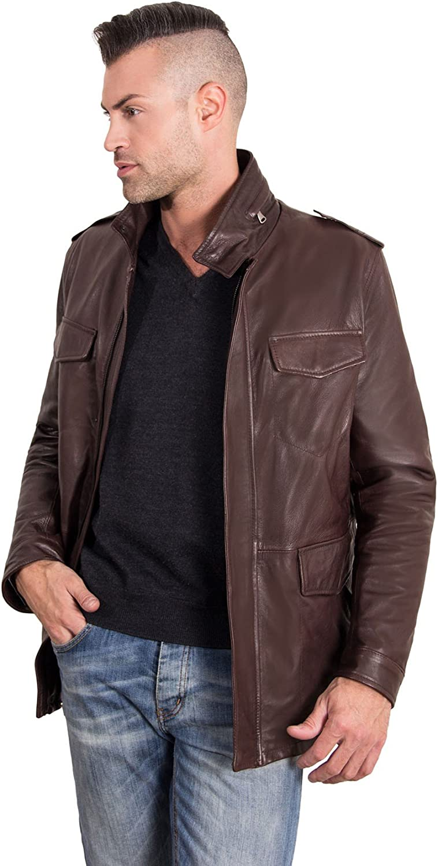 Dark Brown Lamb Leather Jacket Four Pockets
