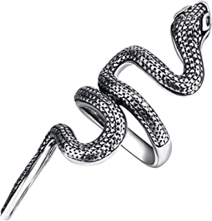 Snake Rings for Women Punk Retro Gothic Finger Rings Adjustable Open Rings Animal Jewelry