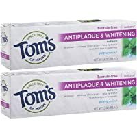 2-Pack Tom's of Maine Fluoride-Free Antiplaque & Whitening Toothpaste Whitening Toothpaste, Natural Toothpaste, Peppermint, 5.5 Ounce