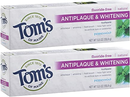 Tom's of Maine Antiplaque and Whitening Fluoride-Free Toothpaste, Peppermint, 5.5 oz, Pack of 2