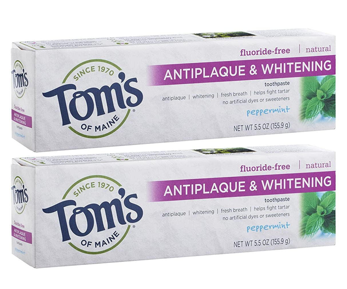 決めますおとうさん悪性のTom's of Maine Antiplaque And Whitening Fluoride-Free Toothpaste, Peppermint, 5.5-Ounce by Tom's of Maine