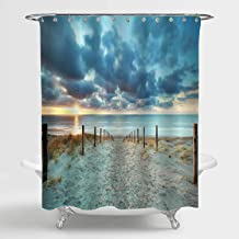 MitoVilla Beach Shower Curtain for Ocean Themed Bathroom Decor, Summer Sunset Over Sea Coastal Beach Tropical Outdoor Natu...