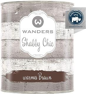Wanders24 Kreidefarbe 750 ml, warmes Braun Holzfarbe für Shabby Chic Look - Möbelfarbe einfach zu verarbeiten - Möbellack auf Wasserbasis - Made in Germany