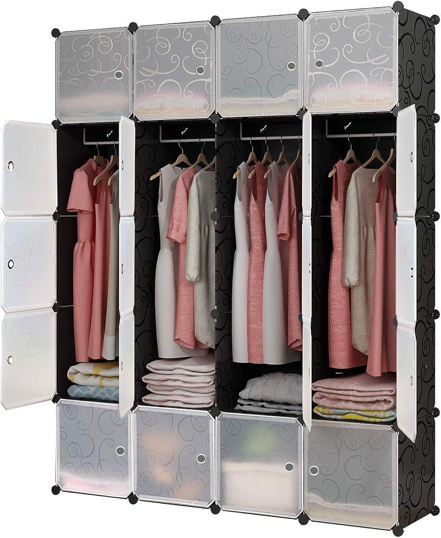 Koossy Erweiterbares Kleiderschrank Regalsystem für Kinderzimmer Wohnzimmer und Schlafzimmer (8Cuebs&4Hanger)