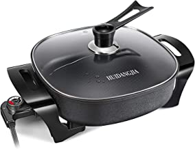 HUIDANGJIA Electric Skillet Non Stick Electric Frying Pan, 12 Inch Electric Griddle with Glass Lid 1360 watts,16
