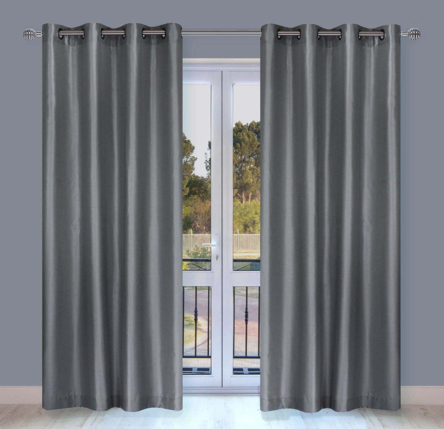LJ Home Fashions 329 Silkana Faux Silk Grommet Curtain Panels (Set of 2) 56  W x 88  L, Grey