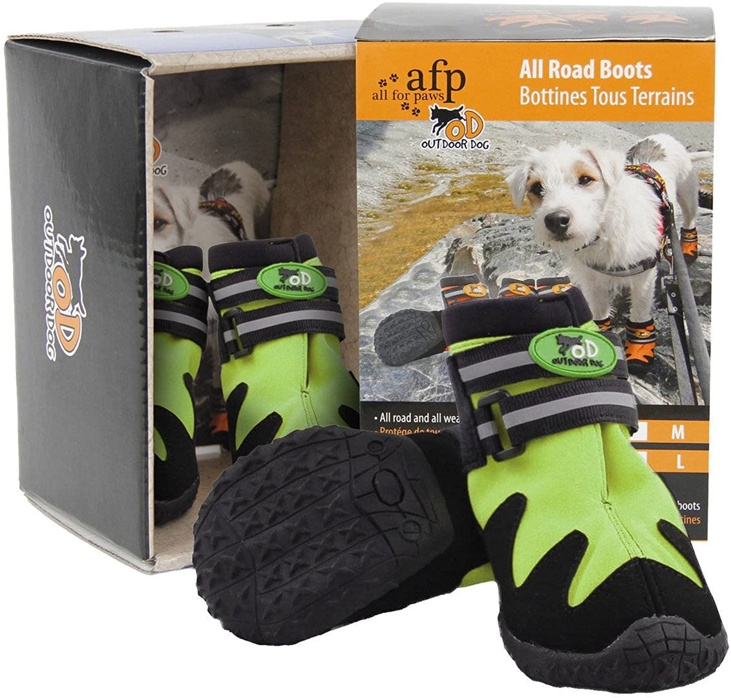 All for Paws All Road Dog Boots, Green, Size 4