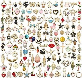 Sailanzi 110pcs Assorted Gold Plated Enamel Animal Plant Fruit Moon Star Random Charms Pendants for DIY Necklace Bracelet Earrings Jewelry Making