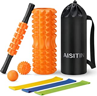 AISITIN フォームローラー 筋膜リリース スティック ヨガポール ストレッチ マッサージ ボール ローラー エクササイズバンド 7点セットフィットネス トレーニング器具 ストレス解消 収納袋付き