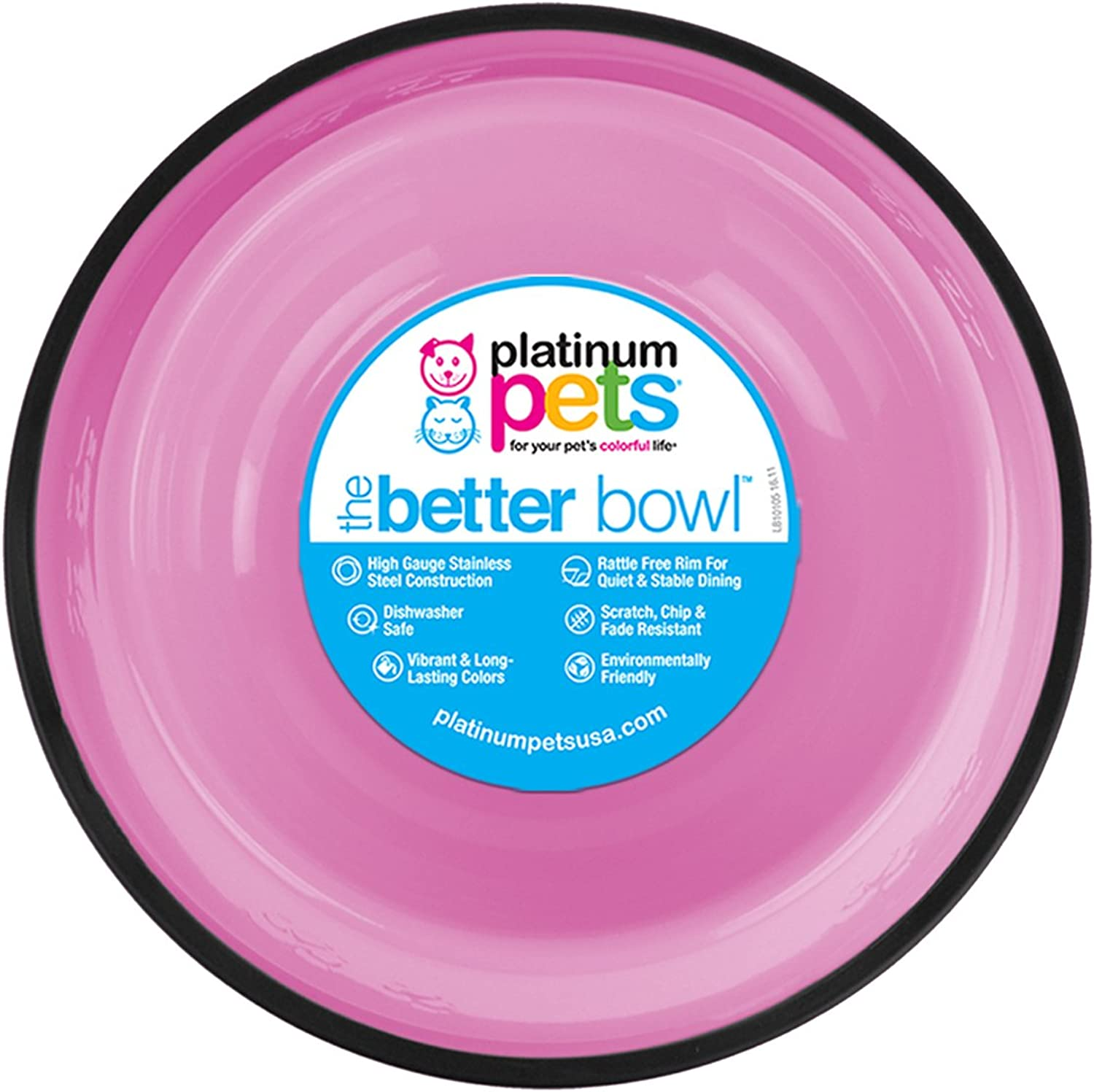 Platinum Pets 4 Cup Embossed NonTip Dog Bowl, Cotton Candy Pink