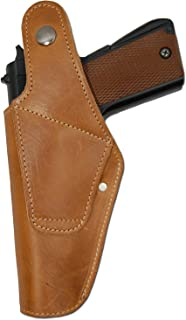 Barsony New Tan Leather OWB Belt Loop Holster for Full Size 9mm 40 45