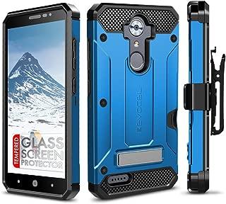 ZTE MAX XL Case, Evocel [Explorer Series Pro] Dual Layer Credit Card Case with Glass Screen Protector & Magnetic Kickstand for ZTE Blade Max 3/ ZTE Blue Max/ZTE N9560/ ZTE Z986/ ZTE N986, Blue